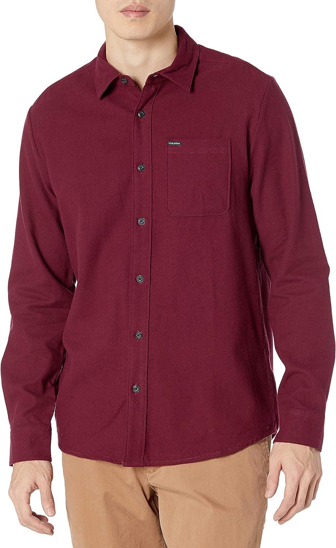 Volcom Men's Caden 5% OFF Solid Long Button Shirt Sleeve Down New sales