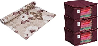Kuber Industries Exclusive PVC Wardrobe/Kitchen/Drawer Shelf Mat 5 Mtr Roll (Multi) Ksr10 (CTKTCmpn687) & 3 Piece Non Woven Saree Cover Set, Maroon (46 cm X 35 cm X 22 cm) Combo