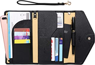 Passport Holder Travel Wallet (Ver.5) for Women Rfid Blocking Multi-purpose Passport Cover Document Organizer Strap, Black