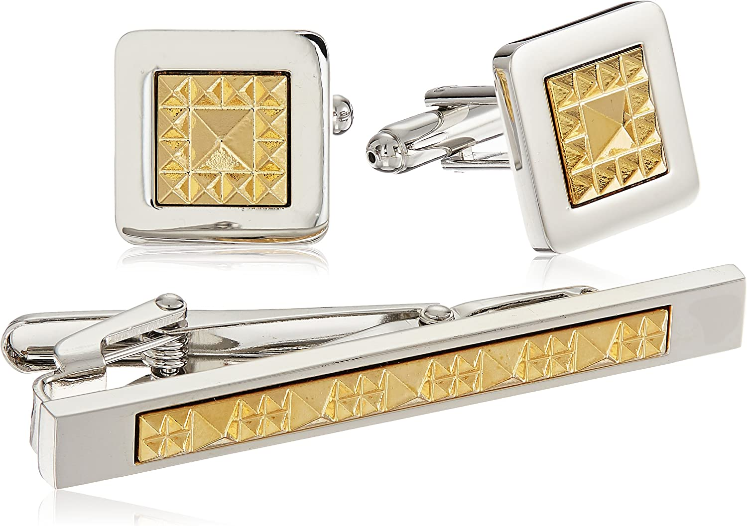Ike Behar Men's Cufflink with Matching Tie Bar Set, two/tone, One Size