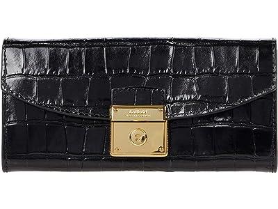 LAUREN Ralph Lauren Lock Continental Wallet (Black) Handbags
