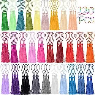 Tassels, Cridoz 120Pcs Bookmark Tassels Silky Handmade Soft Craft Mini Tassels with Loops for Bookmarks, Crafts and Jewelr...