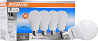 Sylvania Home Lighting 78100 LED Bulb 75W Equivalent Daylight Color 5000K Contractor Series A19, 4 Piece
