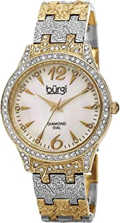 Burgi Women's Diamond & Crystal Accented Watch - 10 Genuine Diamond Hour Markers Mother-of-Pearl Dial On Embossed Bracelet Watch - BUR127