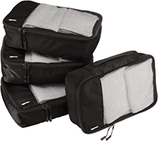 AmazonBasics 4 Piece Small Packing Travel Organizer Cubes Set - Black