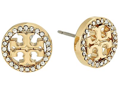 Tory Burch Crystal Logo Circle-Stud Earrings (Tory Gold/Crystal) Earring