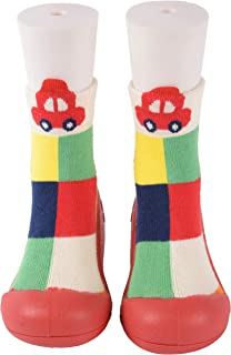 Yellow Bee Anti-Skid Rubber Shoe Socks for Girls, Red
