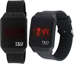 Faceless Touch Screen LED Digital Black Rectangle Case Rubber Sports Cool Easy to Read Big Number Watch