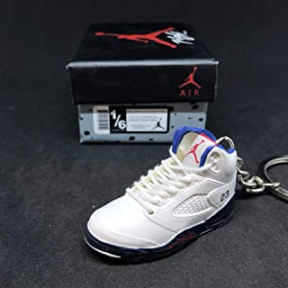 Air Jordan V 5 Retro Fire Red White Independence Day OG Sneakers Shoes 3D Keychain 1:6 Figure + Shoe Box