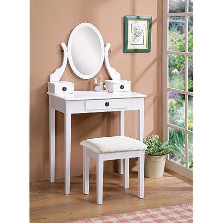 Roundhill Furniture Moniya Wood Makeup Vanity Table and Stool Set, White