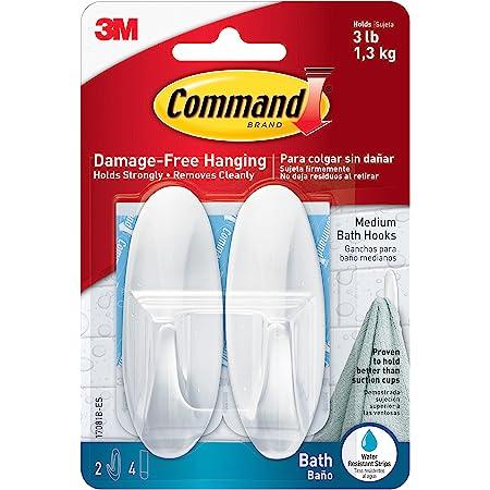 6 Pk 3M Command Bathroom Designer Waterproof Adhesive Hook Holder 2//Pk 17081B