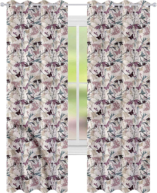 Window Curtain Ranking TOP9 Drape Floral Dragonfly L84 New popularity Blacko W52 Butterfly x