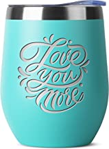 Love You More - Birthday Gifts for Women or Men - Stainless Steel Tumbler - 12 oz Mint Tumblers with Lid - Funny Anniversary Gift Ideas for Him, Her, Husband or Wife. Insulated Cups