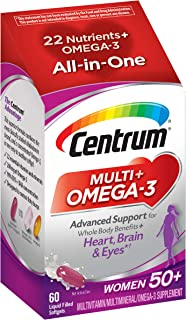 Centrum Multi + Omega-3 (60 Count, 2 Month Supply) Adult Multivitamin and Omega-3 Supplement for Women Over 50, Multivitamin Support for Your Heart, Vitamins B6, B12 and Folate