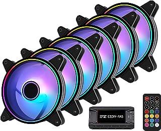 EZDIY-FAB Moonlight Ventilateur de Boîtier RGB 120mm avec Hub Ventilateur et Télécommande,Carte Mère Aura Sync,Contrôle de...