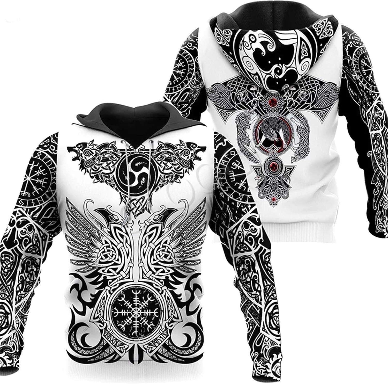 Mens Hoodies,3D Print Viking Tattoo Sweatshirt Hoodie Harajuku Autumn Streetwear Unisex Casual Tracksuit