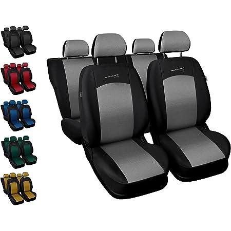 Carpendo Sitzbezüge Auto Set Autositzbezüge Schonbezüge Schwarz Silber Vordersitze Und Rücksitze Airbag Geeignet Sport Line Auto