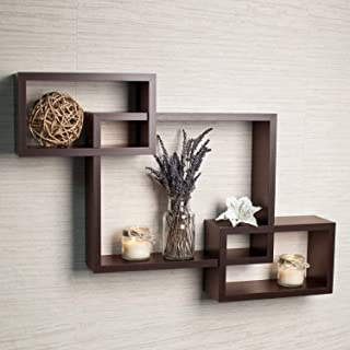 Home Design Mart MDF Intersecting Wall Mounted Shelf Rack Storage Unit for Home Decor Living Drawing Kids Room Set of 3 (S...