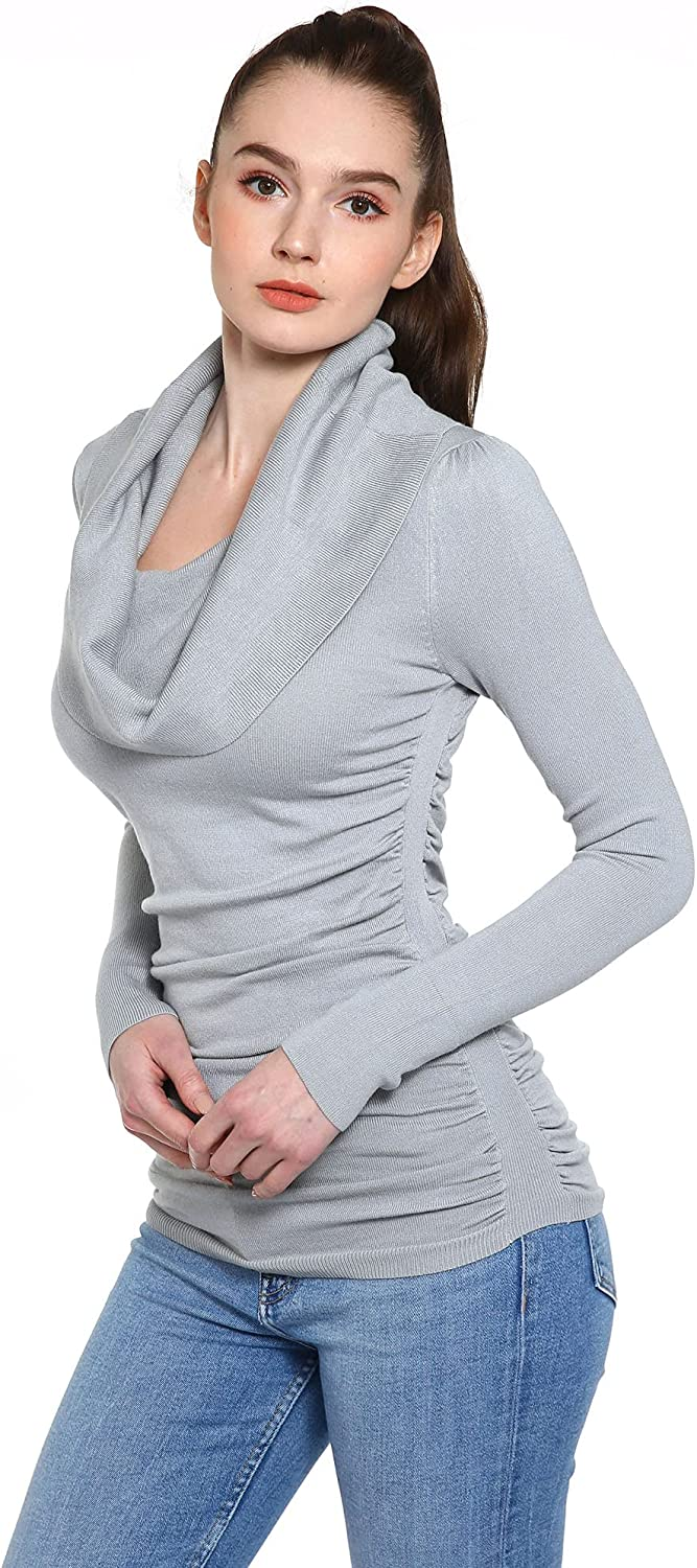 AmélieBoutik Women Cowl Neck Long Sleeve Ruched Sides Pullover Tunic Sweater