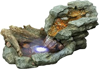 Alpine Corporation Rock Water Fountain with LED Lights - Outdoor Waterfall for Garden, Patio, Deck, Porch - Yard Art Decor