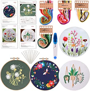 FEPITO 7 Pcs Embroidery Starter Kit with Pattern and Instructions Cross Stitch Kit Including 4Pcs Embroidery Clothes with ...