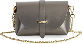 Italian Leather Mini Small Micro Shoulder Cross body Evening Bag With Gold Coloured Metal Chain Strap - CORIN