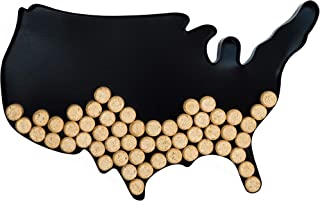 Decorative Metal Wine Cork Holder - USA Map Shaped Vino Cork Cage Storage Holders - Easy Wall Mountable Hanging &Table Display for the Home, Bar, Decor Accessory or a Unique Gift for Wine Enthusiasts