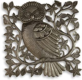 Haitian Metal Wall Art, Small Garden Owl, Metal Indoor and Outdoor Wall Collection, Handmade in Haiti from Recycled Oil Drums, 17 in. x 17 in.