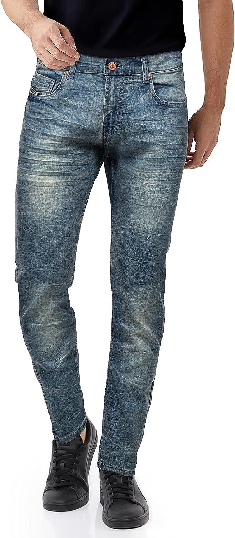 CULTURA AZURE Mens Super Stretch Washed Denim Jeans Flex Skinny Fit Tapered Leg