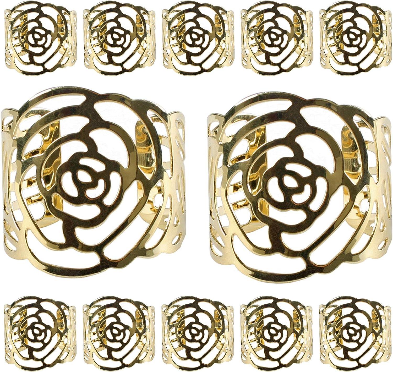 aro de servilleta de 12 servilleteros KAKOO para servilletas de tela y papel y los anillos metálicos de diseÑor hueco del dibujo roso para fiesta de navidad y decoración de mesa