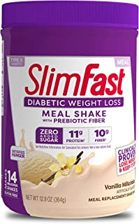 SlimFast Diabetic Weight Loss - Vanilla Milkshake Mix - 10g Protein - 14 Servings - Pantry Friendly, Purple, Vanilla, 12.8...
