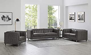 Hydeline Melbourne 100% Leather Set, Sofa, Loveseat and Chair, Gray