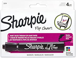 Sharpie Flip Chart Markers, Bullet Tip, Assorted Colors, 4 Pack