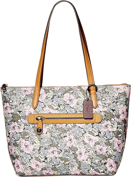 Tote Handbag Purse Floral Pink Teal High Heal 17 x 5 x 11 Beach Bag Heavy Canvas