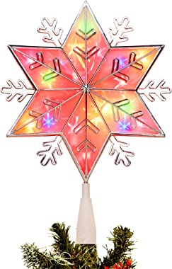 Lighted Christmas Tree Topper, Colorful Plug in Star Treetop with 20 Incandescent Mini Fairy Lights, Holiday Christmas Tree D