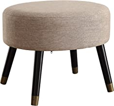 Convenience Concepts Designs4Comfort Tan Fabric Mid Century Ottoman Stool