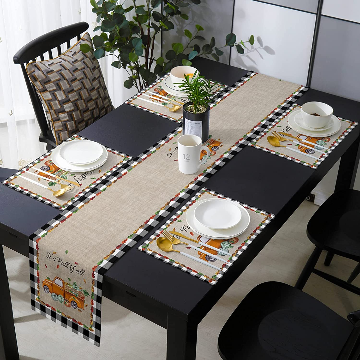 Cotton Linen Placemats Cheap sale Set of 4 with Retro Watercol Runner Complete Free Shipping Table