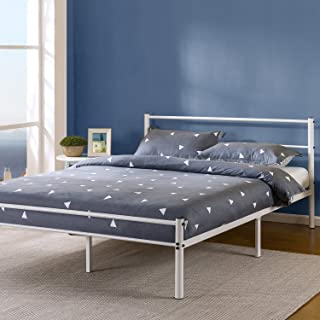 Zinus Geraldine 12 Inch White Metal Platform Bed Frame with Headboard and Footboard, Twin