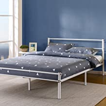 Zinus Geraldine 12 inch White Metal Platform Bed Frame with Headboard and Footboard / Premium Steel Slat Support / Mattress Foundation, Full