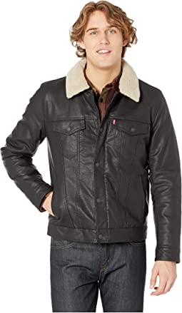 Classic Faux Leather Trucker with Removable Sherpa Collar