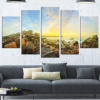 Designart Beautiful Romantic Beach Sunrise-Landscape Glossy Metal Wall Art, 60x32-5 Panels Diamond Shape, Blue