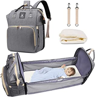 3 in 1 Diaper Bag with Foldable & Detachable Baby Bed, Multi-Functional Portable Baby Crib, Mommy Bag with Changing Station, Travel Bassinet for Infant Sleeper, Waterproof, (Grey)