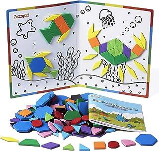 Kids Magnetic Pattern Blocks Set: 216 PCS Shape Puzzles Tangram - STEM