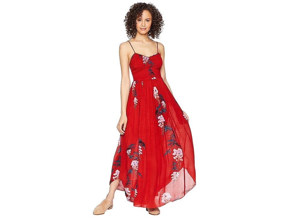 Free People Beau Smocked Printed Slip (Red Combo) Women