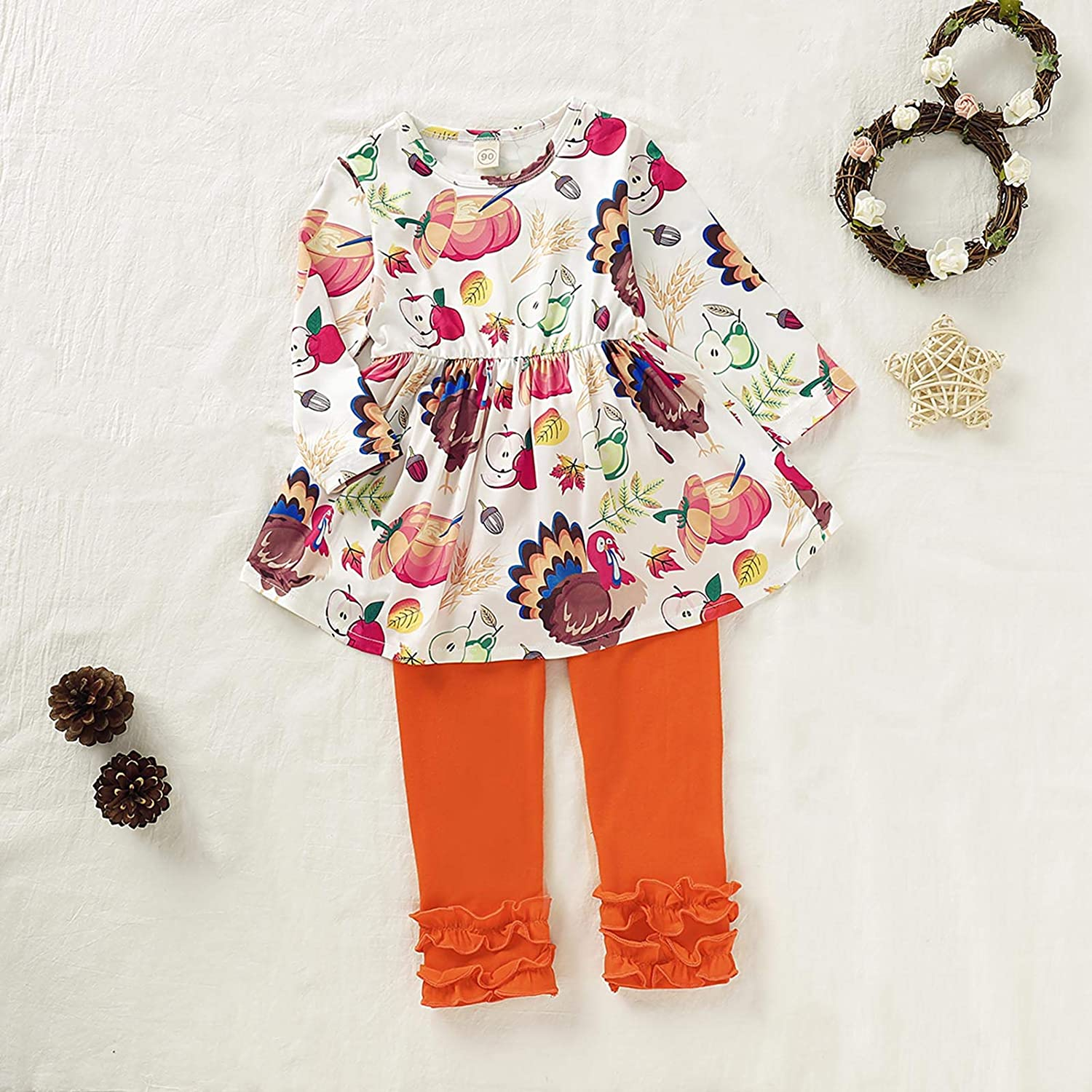 Baby Girls Thanksgiving Outfits Toddler Turkey Long Sleeve Dress Tops + Ruffles Pants Clothes Set