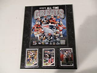 NEW ENGLAND PATRIOTS 6 TIME SUPER BOWL CHAMPIONS ALL-TIME GREATS PHOTO PLUS 3 CARDS FEATURING TEDY BRUSCHI-TOM BRADY-ROB GRONKOWSKI MOUNTED ON A