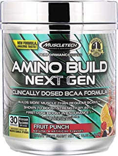 Amino Build Next Gen BCAA Formula Boost Strength by 40% First Dose Boost in Endurance Fruit Punch 10.00 oz 284 g