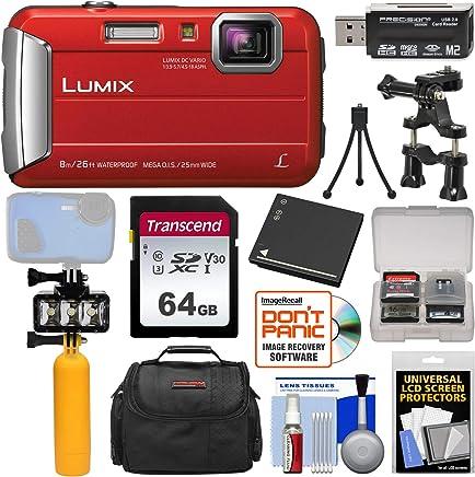 $184 » Panasonic Lumix DMC-TS30 Tough Shock & Waterproof Digital Camera (Red) with 64GB Card + Battery + Diving LED Video Light + Buoy Handle + Bike Mount + Case Kit