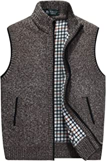 Flygo Men's Stand Collar Zipper Sweater Vest Knitted Sleeveless Jacket Cardigan