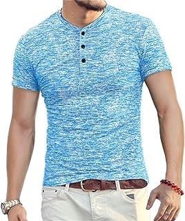 Mens Fashion Casual Slim Fit Basic Henley Short Sleeve Lightweight Summer T-Shirt